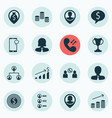 set of 16 management icons includes money vector image vector image