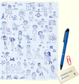 Set of Kids drawing - childish style picture vector image vector image