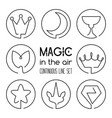 set of magic fantasy continuous line art icons vector image vector image