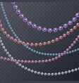 set of realistic colorful pearl threads on a vector image vector image