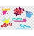 set pop art comic vector image