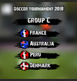 soccer tournament 2018 group c vector image