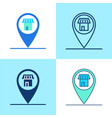 store location pin icon set in flat and line style vector image vector image