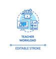 teacher workload concept icon vector image