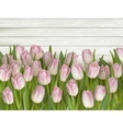 Tulips on wooden background EPS 10 vector image vector image