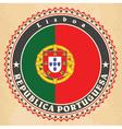 vintage label cards portugal flag vector image