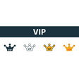 vip icon set four simple symbols in diferent vector image vector image