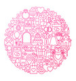 wedding line icon circle design vector image