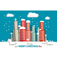 Winter City Merry Christmas Card Flat Design Retro vector image