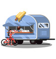 woman buys an ice cream in food truck vector image