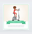 young woman working out on exercise bike fitness vector image vector image