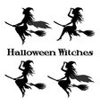 witch flying on broom vector image