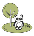 cute and tender bear panda in the jungle character vector image