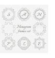 Monogram frames Retro style set Hand drawn vector image