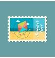 Kite flat stamp summertime vector image