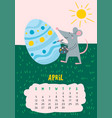 april calendar page with cute rat decorate easter vector image