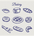 bakery products on notebook page vector image vector image