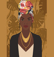 beautiful young black african woman wearing vector image