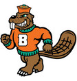 beaver sports logo mascot vector image vector image