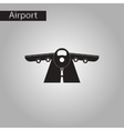 black and white style icon airplane runway vector image vector image
