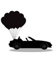 black silhouette of opened cabriolet car with vector image