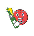 bowling ball character cartoon with beer vector image vector image
