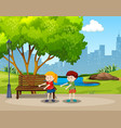 boy and girl floss dance in the park vector image vector image