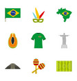 brazilan symbols icon set flat style vector image vector image