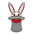 cartoon bunny gray hat trick magician vector image