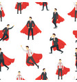 cartoon businessman superhero seamless pattern vector image vector image