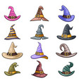 cartoon outline witch hat decoration halloween vector image vector image