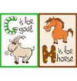 children alphabet with funny animals goat