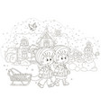 children with a sled on a snowy winter day vector image vector image