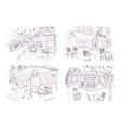 collection freehand sketches outdoor cafe or vector image vector image