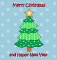 colorful Christmas tree on blue background vector image vector image