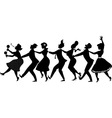 Conga dance silhouette vector image vector image