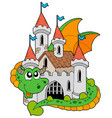 dragon with old castle vector image