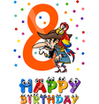 eighth birthday cartoon design vector image