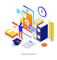 flat color modern isometric - online education vector image vector image