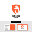 fox logo template free business card mockup vector image