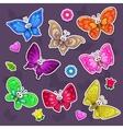Funny cartoon butterflies stickers set vector image vector image