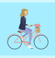 girl riding on bicycle with flowers biking vector image vector image