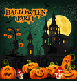 halloween night party invitation with horror house vector image