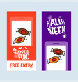 happy halloween invitation design with candy vector image vector image