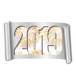happy new year card white number 2019 gold vector image