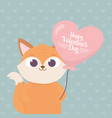happy valentines day cute fox with balloon shaped vector image vector image
