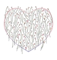 Heart and roses stylized background vector image vector image