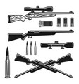 hunting weapons set objects or elements vector image