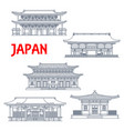 japanese temples shrines japan pagodas landmarks vector image vector image