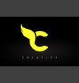 letter c logo with yellow colors and wing design vector image vector image